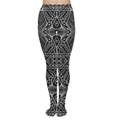 Black and White Tribal Geometric Pattern Print Tights