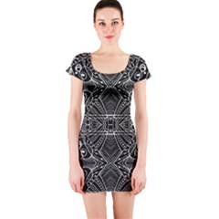 Black And White Tribal Geometric Pattern Print Short Sleeve Bodycon Dress