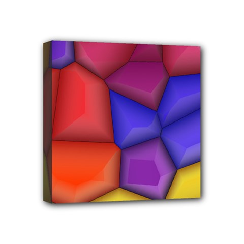 3d Colorful Shapes Mini Canvas 4  X 4  (stretched)