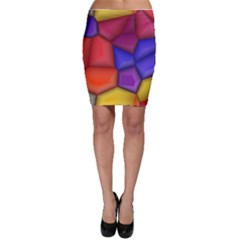 3d colorful shapes Bodycon Skirt