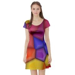 3d Colorful Shapes Short Sleeved Skater Dress