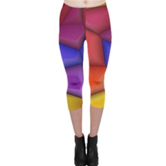 3d colorful shapes Capri Leggings