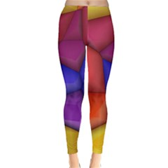 3d colorful shapes Winter Leggings