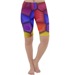 3d colorful shapes Cropped Leggings