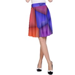 3d Colorful Shapes A Line Skirt