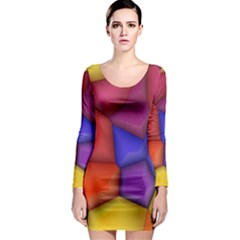 3d colorful shapes Long Sleeve Bodycon Dress