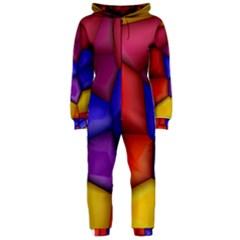 3d colorful shapes Hooded OnePiece Jumpsuit