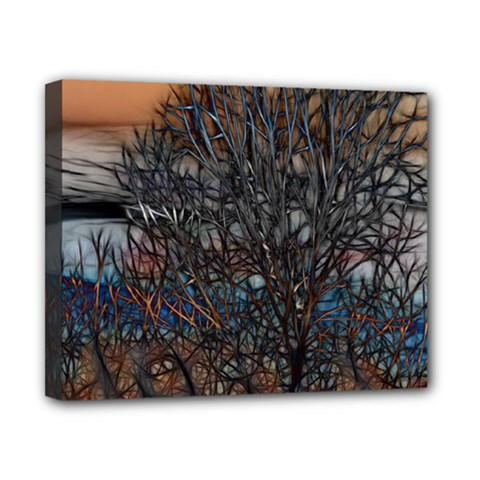 Abstract Sunset Tree Canvas 10  X 8  (framed)