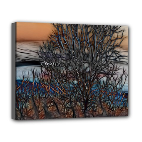 Abstract Sunset Tree Deluxe Canvas 20  X 16  (framed)
