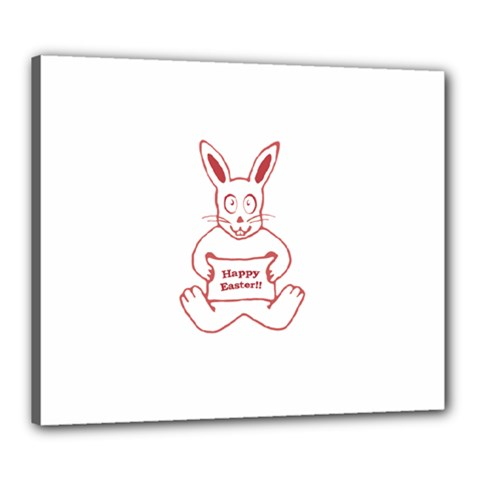Cute Bunny With Banner Drawing Canvas 24  X 20  (framed)
