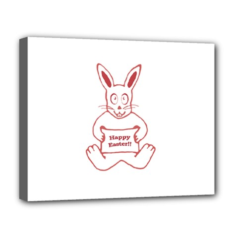 Cute Bunny With Banner Drawing Deluxe Canvas 20  X 16  (framed)