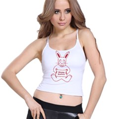 Cute Bunny With Banner Drawing Women s Spaghetti Strap Bra Top