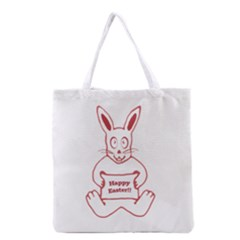 Cute Bunny With Banner Drawing Grocery Tote Bag