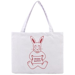 Cute Bunny With Banner Drawing Tiny Tote Bag