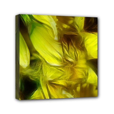 Abstract Yellow Daffodils Mini Canvas 6  X 6  (framed)