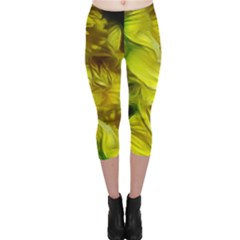 Abstract Yellow Daffodils Capri Leggings
