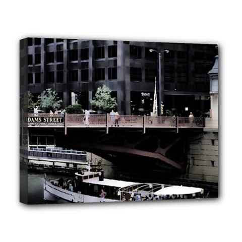 Adams Street Bridge Deluxe Canvas 20  X 16  (framed)