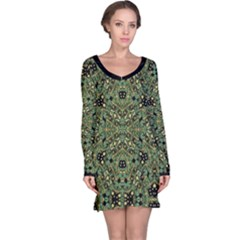 Luxury Abstract Golden Grunge Art Long Sleeve Nightdress