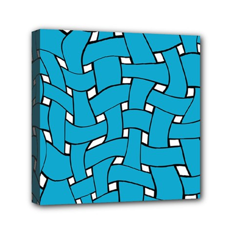 Blue Distorted Weave Mini Canvas 6  X 6  (stretched)