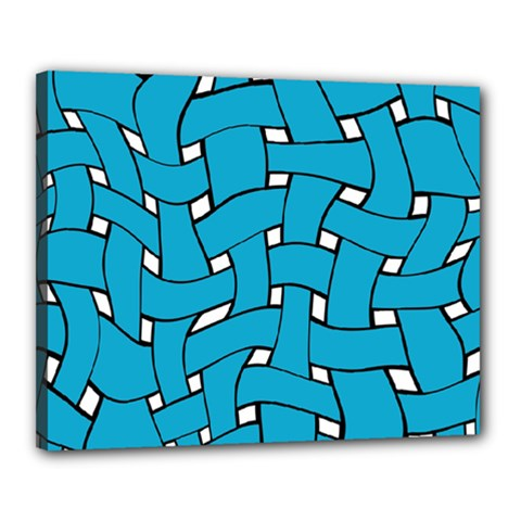 Blue Distorted Weave Canvas 20  X 16  (stretched)