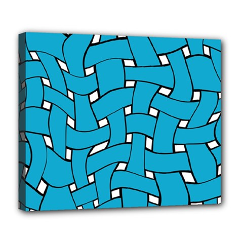 Blue Distorted Weave Deluxe Canvas 24  X 20  (stretched)