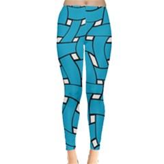 Blue Distorted Weave Leggings
