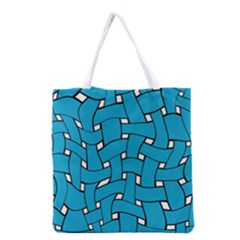 Blue Distorted Weave Grocery Tote Bag