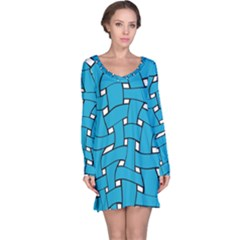 Blue distorted weave nightdress