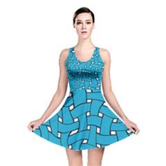 Blue distorted weave Reversible Skater Dress