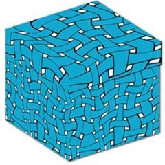 Blue Distorted Weave Storage Stool