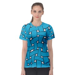 Blue distorted weave Women s Sport Mesh Tee