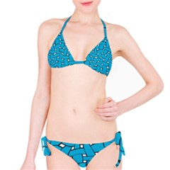 Blue Distorted Weave Bikini Set