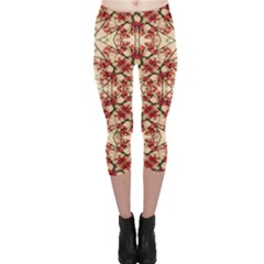 Floral Geometric Collage Capri Leggings