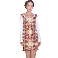 Floral Geometric Collage Long Sleeve Nightdress