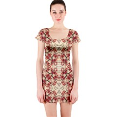 Floral Geometric Collage Short Sleeve Bodycon Dress