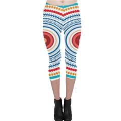 Colorful Round Kaleidoscope Capri Leggings