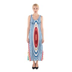 Colorful Round Kaleidoscope Full Print Maxi Dress