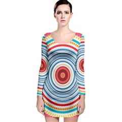 Colorful round kaleidoscope Long Sleeve Bodycon Dress
