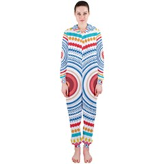 Colorful Round Kaleidoscope Hooded Onepiece Jumpsuit