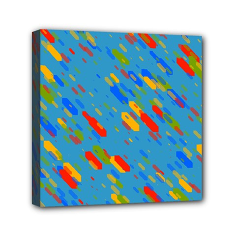 Colorful Shapes On A Blue Background Mini Canvas 6  X 6  (stretched)