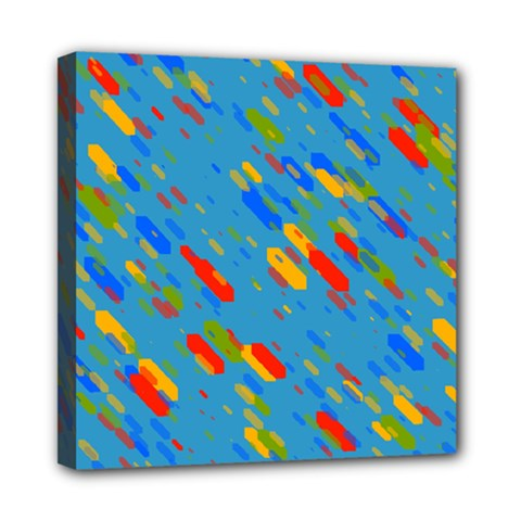 Colorful shapes on a blue background Mini Canvas 8  x 8  (Stretched)