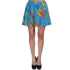 Colorful Shapes On A Blue Background Skater Skirt