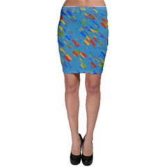 Colorful shapes on a blue background Bodycon Skirt