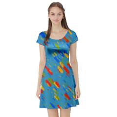 Colorful shapes on a blue background Short Sleeved Skater Dress