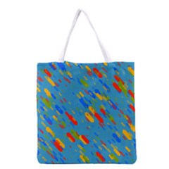 Colorful Shapes On A Blue Background Grocery Tote Bag