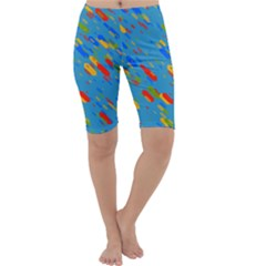 Colorful shapes on a blue background Cropped Leggings