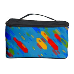 Colorful Shapes On A Blue Background Cosmetic Storage Case