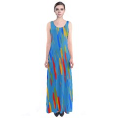 Colorful Shapes On A Blue Background Full Print Maxi Dress