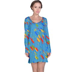 Colorful shapes on a blue background Long Sleeve Nightdress