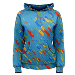 Colorful shapes on a blue background Women s Pullover Hoodie